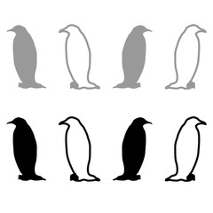 Penguin iconset grey black color Illustration