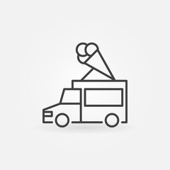 Ice cream truck vector icon in thin line style