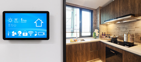 smart home system on intelligence screen with background