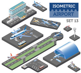 3d isometric airport and city map constructor elements isolated on white. Build your own infographic collection