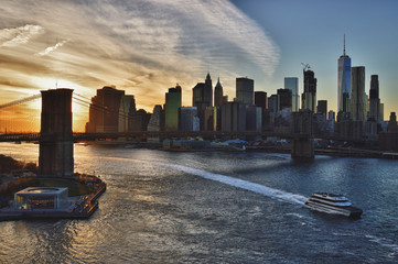 Sunset over a Brooklyn Bridge - HDR image.