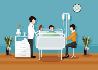 Doctor checking a patient in the hospital, Hospital room interior - Vector illustration