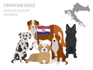 Dogs by country of origin. Croatian dog breeds. Infographic template