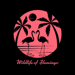 Wildlife of flamingo with flamingos on sea and coconut tree in circle banner sign vector design