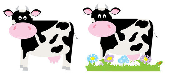 cute smiling happy cow with spots and the grass, flowers, meadow / vectors illustration  for children