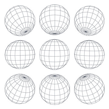 Set of 3d spheres globe earth grid from different sides. Horizontal and vertical lines, latitude and longitude. Neural information concept. Vector globe