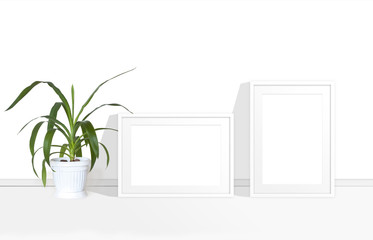 Two blank photo frames mock up and yucca plant in white flower pot, interior decoration  accessory