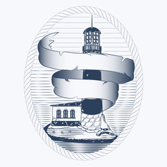 vector sketch of the lighthouse on the shore in an oval frame out of rope. the Curling ribbon from the parchment for the writing. print for t-shirt, ticket banner and other design