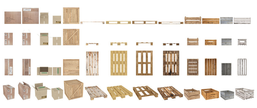 A set of pallets, boxes and cartons. Top view, side view, front view and perspective. Isolated on white background. 3d rendering.