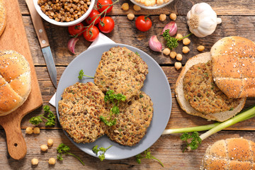 Fotobehang - vegetarian steak with lentils and spices