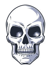 Hand Drawn Skull with Evil Look