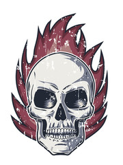 Flame and Skull with Evil Look
