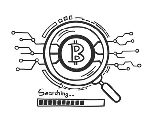 Doodle hand drawn concept find the digital currency bitcoin. vector illustration.