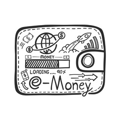 doodle hand drawn spend the money with e-money system concept. Vector illustration.