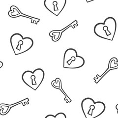 Seamless pattern background heart and key. vector illustration.