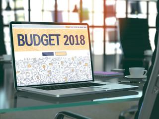 Budget 2018 Concept on Laptop Screen. 3d