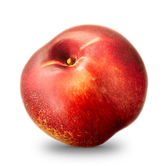 Ripe fresh nectarine peach isolated on white background. With clipping path.