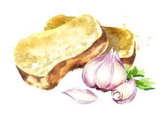 Garlic bread. Watercolor hand drawn illustration isolated on white background