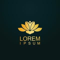 gold lotus flower meditation logo