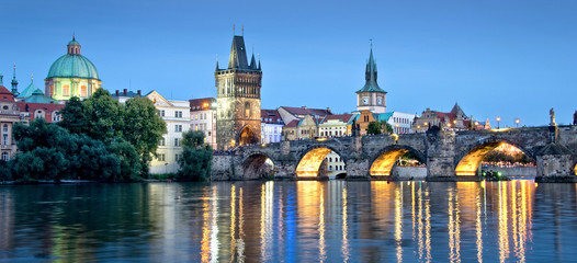 Vltava river and Charles bridge by night, Prague, Czech republic