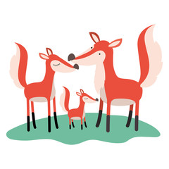 cartoon fox couple and cub over grass in colorful silhouette on white background vector illustration