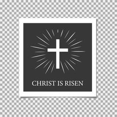 Happy Easter. Christ is Risen. Cross. Vector illustration