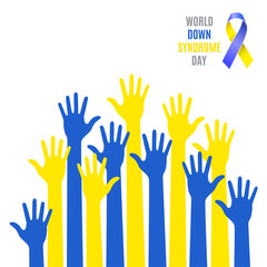 World Down Syndrome Day Poster. Blue  yellow hands symbol with ribbon icon isolated on white background. Vector illustration