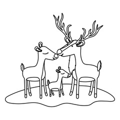 cartoon deer couple and calf over grass in monochrome silhouette vector illustration
