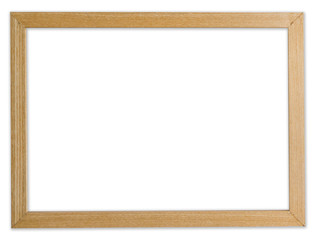 wood frame photo on isolated white background with clipping path.