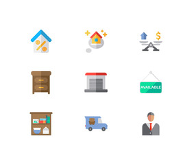 Real estate icons set. Agent and real estate icons with furniture, house available and garage. Set of elements including think for web app logo UI design.