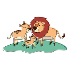 cartoon lions couple and cub over grass in watercolor silhouette on white background vector illustration