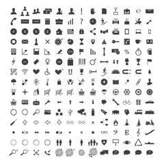 Vector set of 150 +  web icons - SEO, development, business, finance, shopping, commerce, transport,  media and arrows