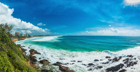 Sunny day at Coolum Beach on Queensland's Sunshine Coast in Australia