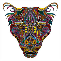 Vector animal. Color leopard from vintage patterns
