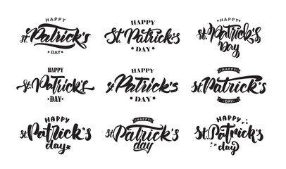 Big Set of Handwritten modern brush lettering composition of Happy St. Patrick's Day on white background