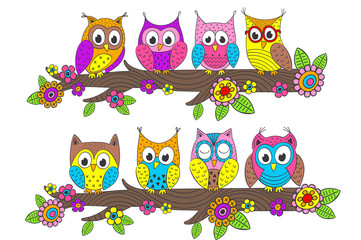 funny owls on branch - vector illustration, eps