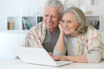 beautiful senior couple with blanket using laptop at home