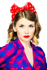 Portrait of pinup woman with vintage makeup and hairstyle. Isolated on white background