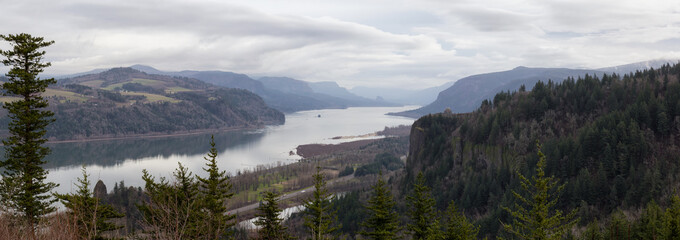 Beautiful panoramic landscape view from Portland Women's Forum State Scenic Viewpoint. Taken on Historic Columbia River Hwy, Oregon.