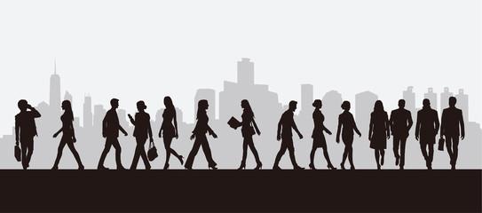 People Walking Silhouettes