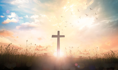 Ascension day concept: The cross on meadow autumn sunrise background Wall mural