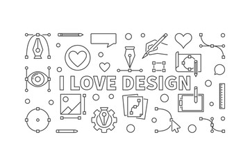 I love design vector outline horizontal banner