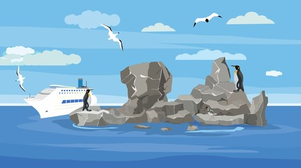 Penguin birds on the ocean reefs, seagulls flying, big ocean cruise liner, concept sea vector illustration