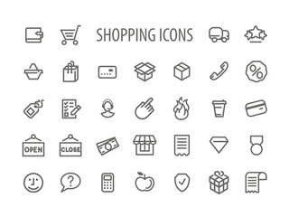 Outline Shopping Icons Set Vector Illustration