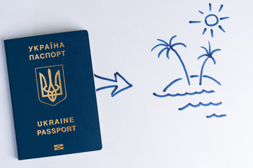 Blue Ukrainian passport and arrow to goal in the picture. Theme - motivation.