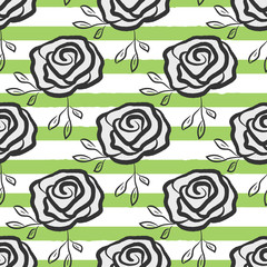 Flowers roses drawn by hand on striped background. Trendy floral seamless pattern.