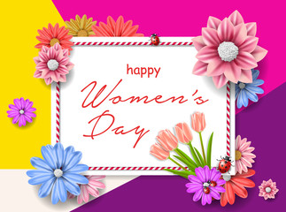 8 march women's day greeting card. Happy Women's Day.  Card for 8 March women's day. Abstract background with paper flower. Vector illustration.