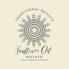 Vector label for refined sunflower oil with sunflower and handwritten inscription on a light background