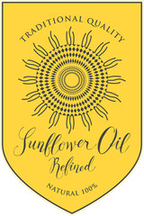 Vector label for refined sunflower oil with schematic drawing of sunflower and handwritten inscription on yellow background