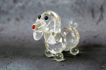 Crystal  Dog on gray background